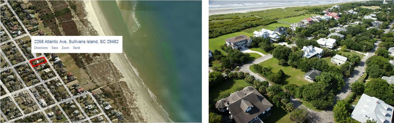 Aerial Pictures of 2268 Atlantic Ave on Sullivans Island, SC